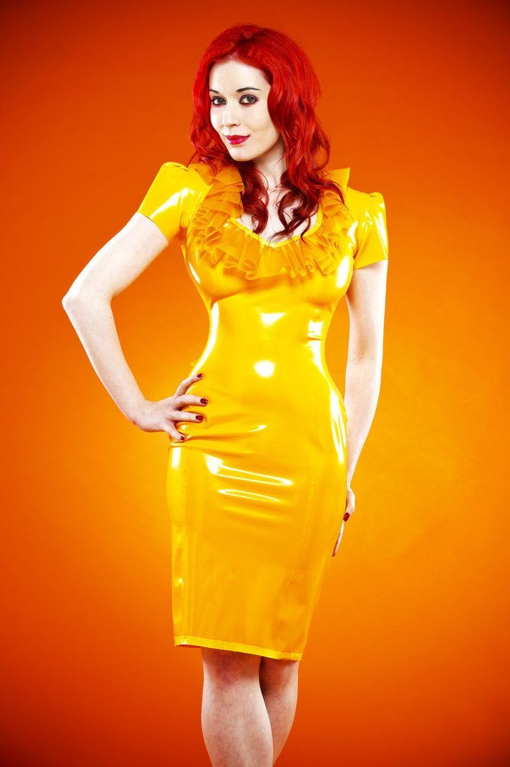 This will wake up your eye - bright yellow latex dress ...