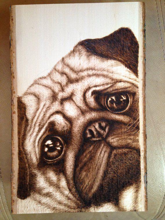 Pug Dog Woodburning Wood Burning Art Wood Carving Wood Burning