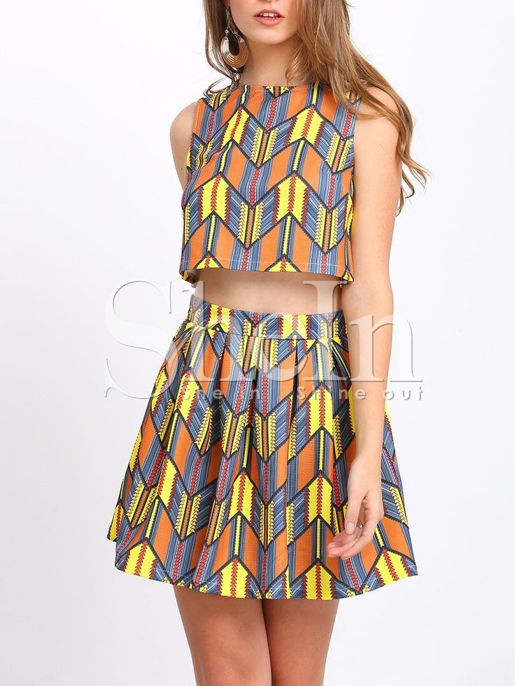 Multicolor+Print+Crop+Tank+Top+With+Skirt+36.99