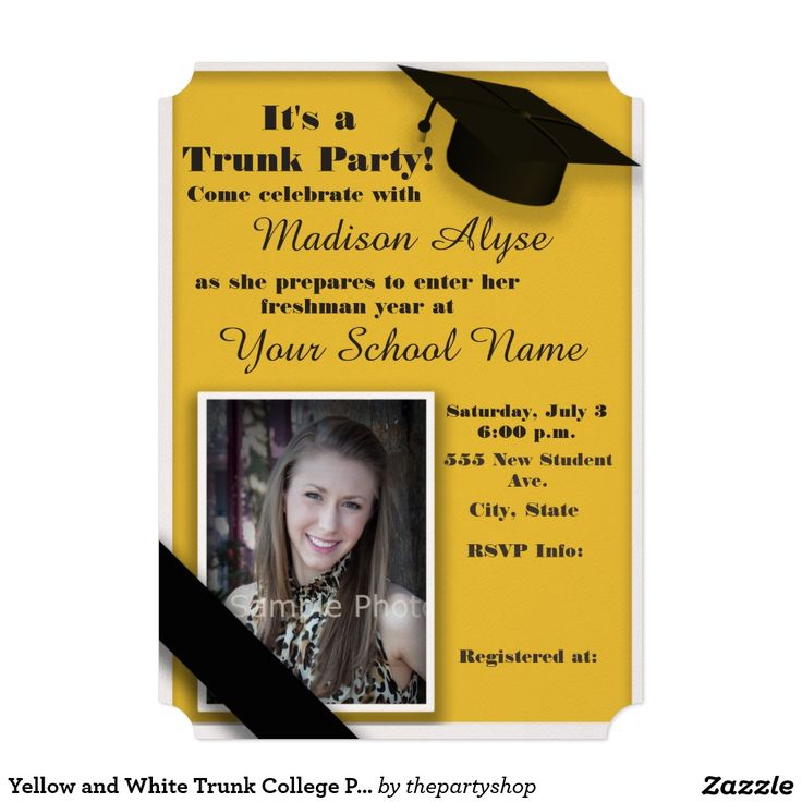 Give your college student a great send off with a trunk party.  Yellow and White Trunk Party / Off to College Party Photo invitation.