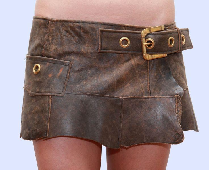 Hippy Micro Mini Skirt. Kiwi versatile brown leather mini skirt ...