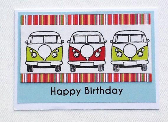 Birthday card, handmade card, campervan design Happy Birthday card