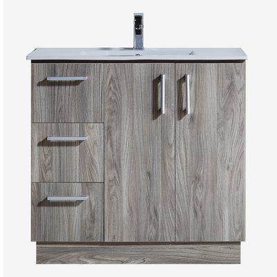 "35"" Bathroom Vanity with Ceramic Sink in Grey Walnut Wood Texture Finish"