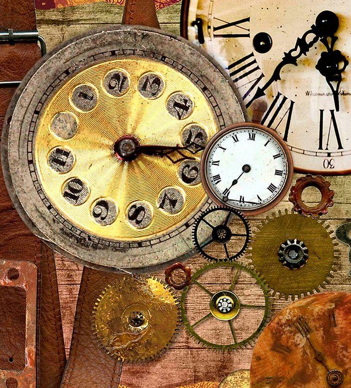 Old Clocks Collageclock Partswood Tablewood Background