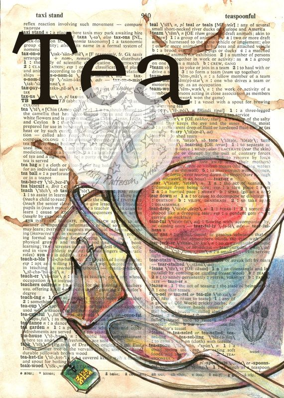 PRINT Coffee Drawing on Distressed Dictionary Page by flyingshoes