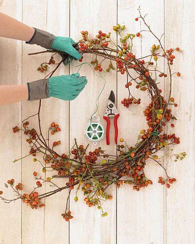 kransen en boeketten maken met rozenbottels, zo doe je dat met handschoenen, snoeischaar en binddraad. Fotografie: Picturepress/Hollandse Hoogte