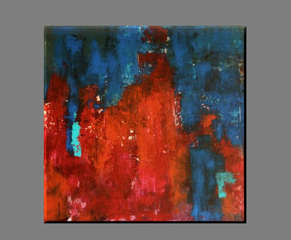 "FREE SHIPPING - Acrylic painting, painting,original painting,modern painting,wall decor,canvas painting ,red, blue,abstract 70x70 cm,28""x28"""