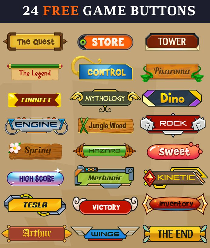24 free Game Buttons | Pixaroma | http://pixaroma.com/24-game-buttons/