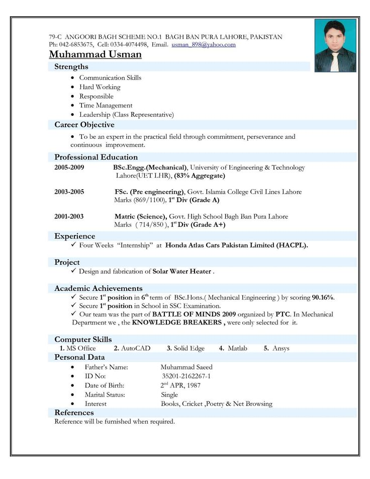 Mechanical Engineer Resume Sample Impressive Resume format