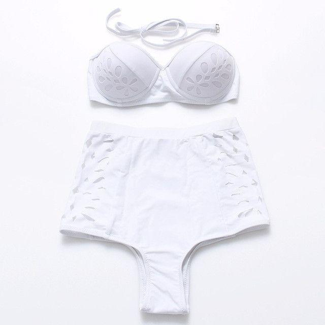 2017 Hot Retro Black Swimsuit Underwire Push Up High Waist Bikini Set Sexy Women Swimwear High Waist Bathing Suits Biquni