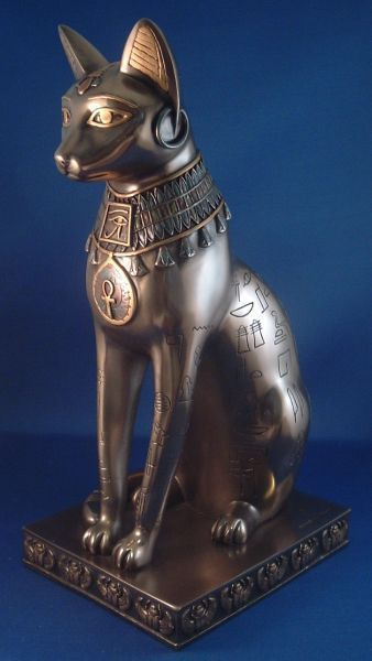 Bastet Bronze Hieroglyic Statue YT-7184 by | Egyptian Statues | Ancient Egyptian Gods | Egyptian Decor: