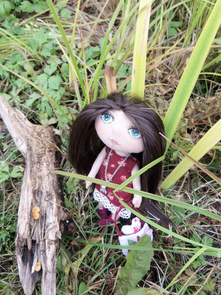 Купить Текстильная кукла Гретта - бордовый, текстильная кукла, коллекционная кукла, кукла ручной работы