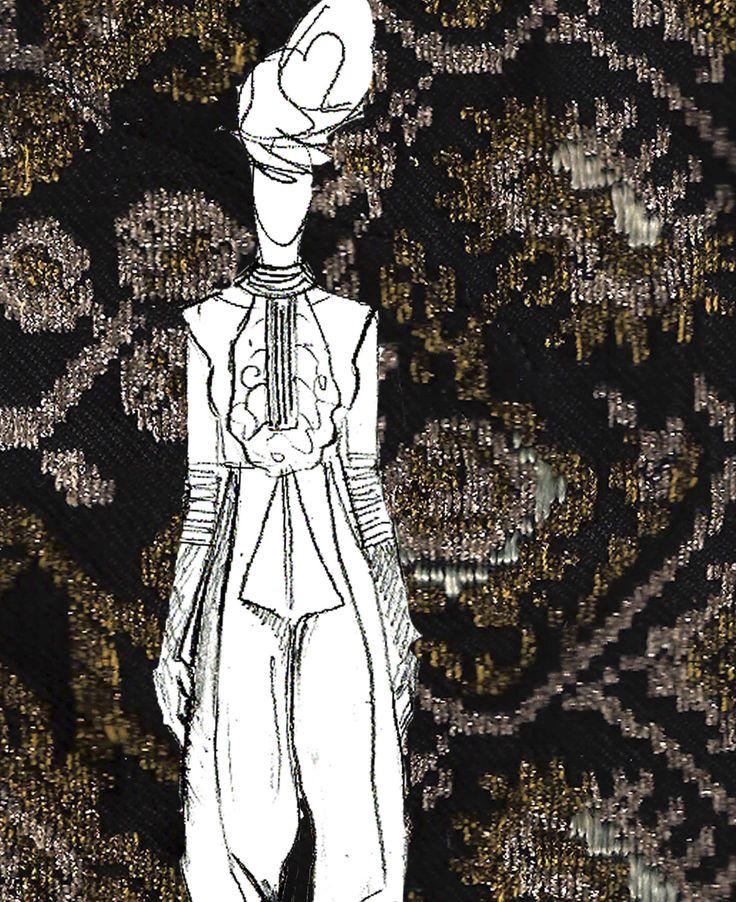 #SandraGalan #fashion #sketch #illustration #collage #vintage #Romanian #embroidery