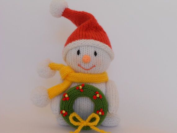 Knitted Snowman knitted Christmas decoration by PinkOliveGifts