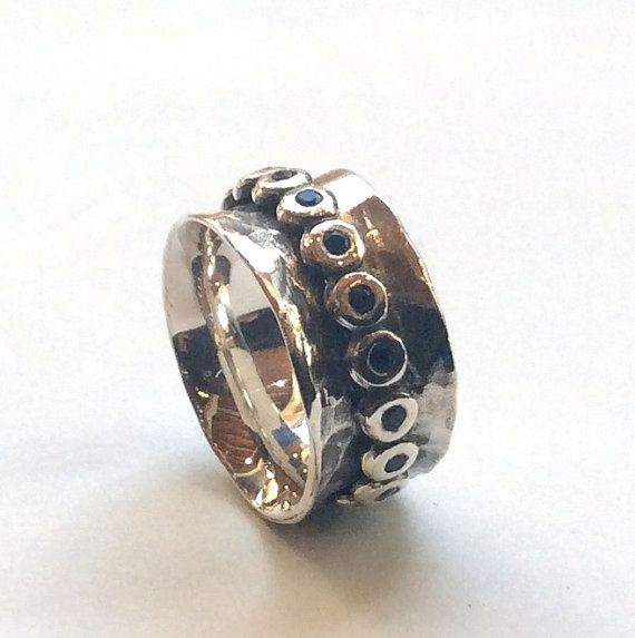 Cool Silver wedding band bohemian spinner ring anxiety ring Blue sapphires ring boho