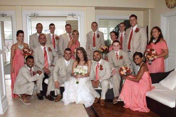 Coral Bridesmaid Dresses And Guys Wearimg Khaki And Coral