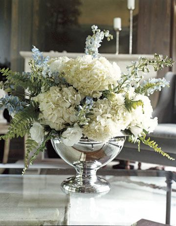 Floral design in mercury glass compote