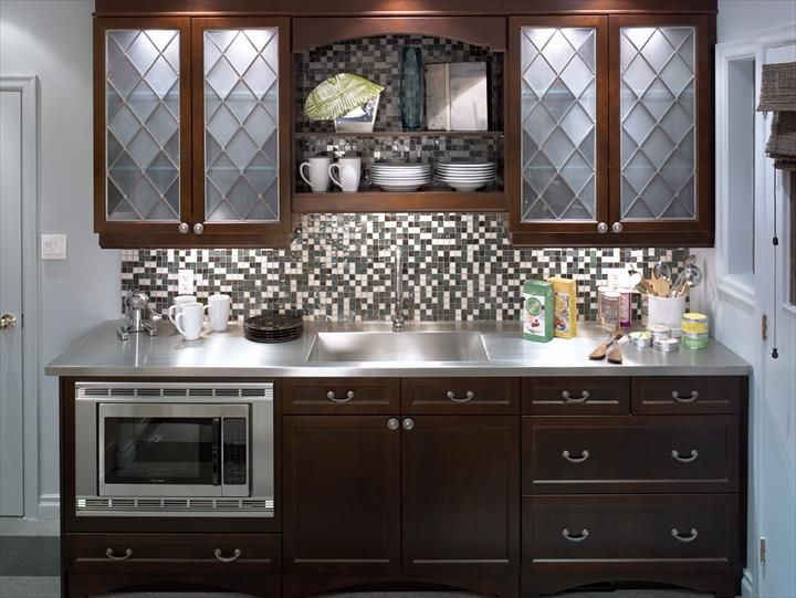 Transitional kitchen picture featuring a Thermador built-in microwave oven and stainless steel trim kit.