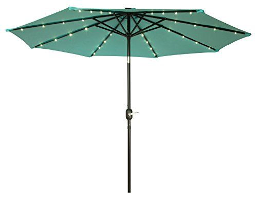Trademark Innovations Deluxe Solar Powered LED Lighted Patio Umbrellas 9  Teal For Sale Https:/