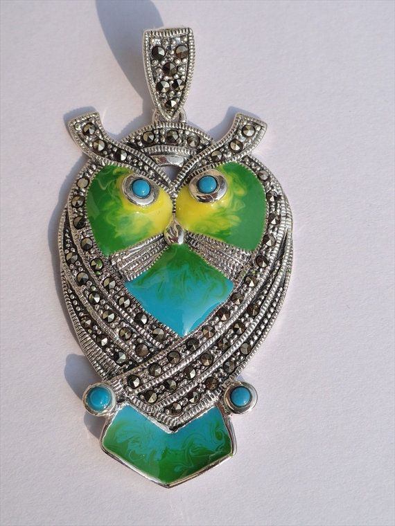 Owl shaped Pendant with Marcasite Turquoise by beadsincredible, $49.99