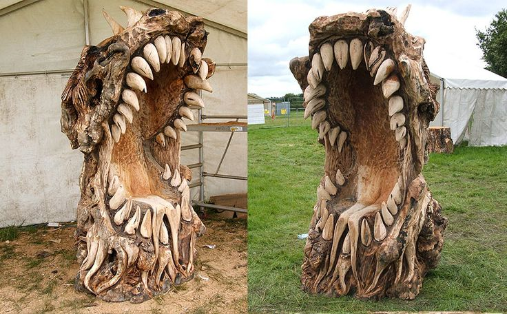 Chainsaw carving mouth monster chair wood