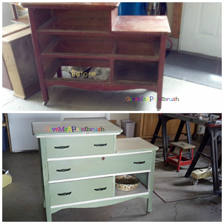 A Vintage Farmhouse Buffet before and after. SOlD