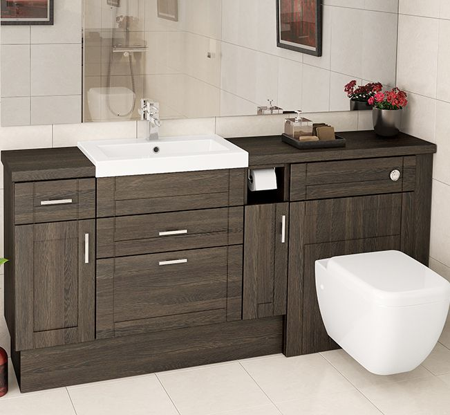 The warm tones of Mali Oak make it look amazing in a long run of fitted bathroom furniture, and it can bring a cosy aspect to larger bathrooms.
