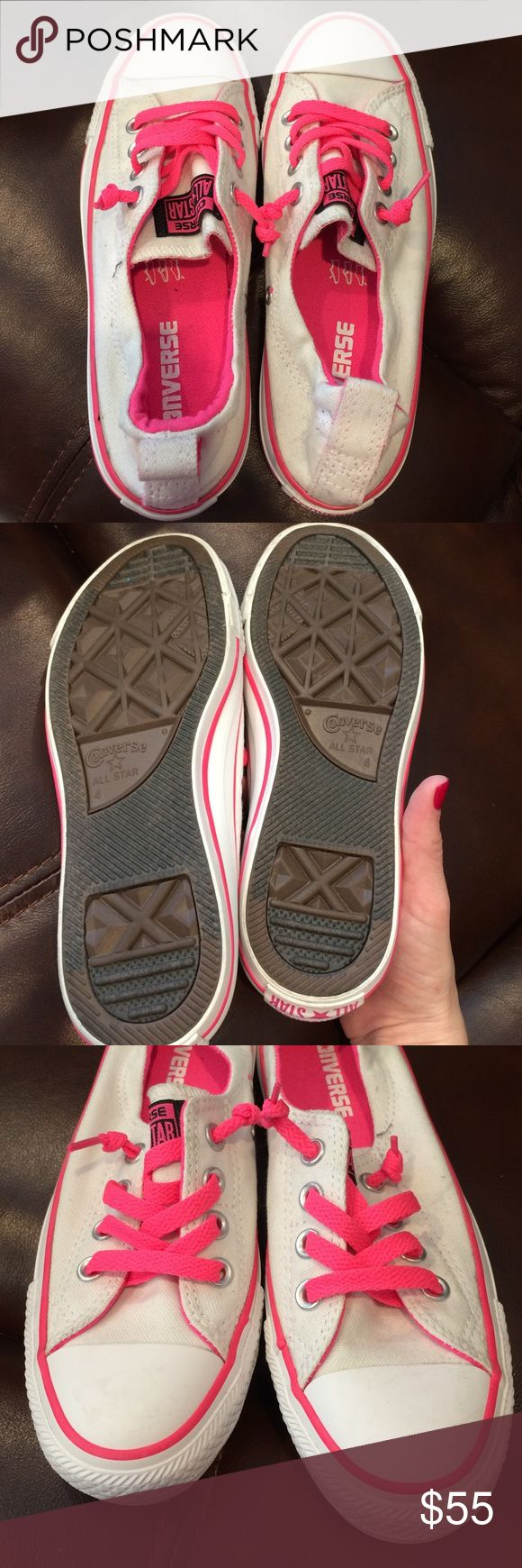 Converse slip ons Pink and white gently used slip ons. Very very gently used. Still in good condition. Says US 6, UK 4. Converse Shoes Sneakers