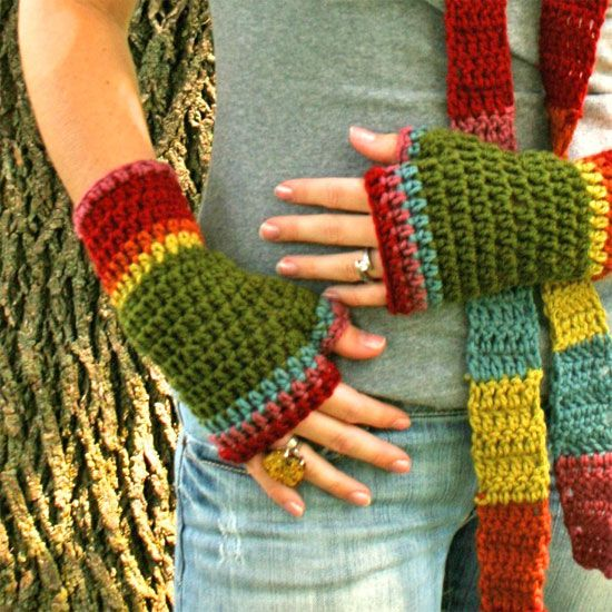 How To Crochet Fingerless Gloves | your own handmade pair right here Makes a great gift for you or ...