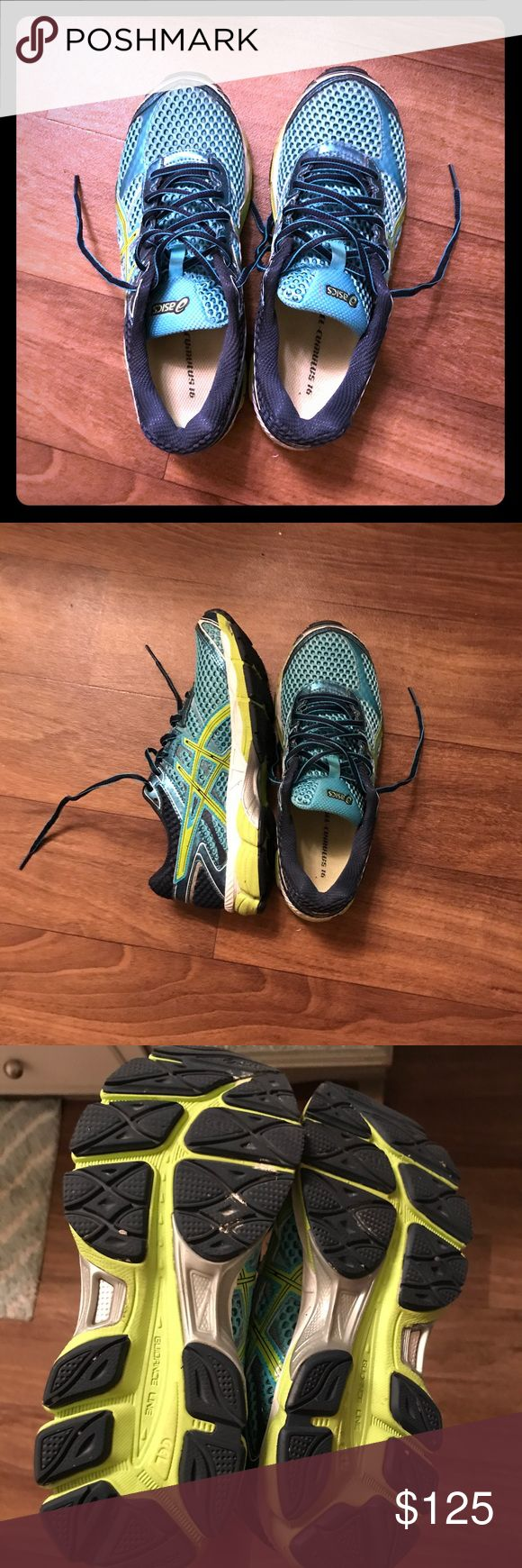 Blue and Green ASIC Nimbus-Gel Athletic Shoes! Worn a few times, great condition!! Smoke free home. Let me know if you have any questions(: Asics Shoes Athletic Shoes