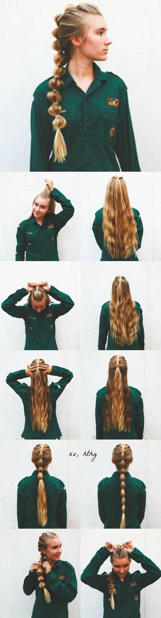Try this style when your hair is still damp in the morning. You will have a wavy beach look when you take it down in the evening.