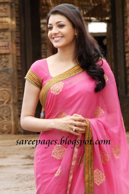 Latest Traditional and Designer Sarees: Kajal Agarwal in Pink Chiffon saree