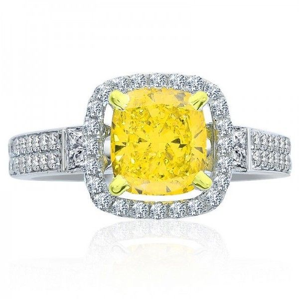 Pre-owned 14K White Gold Yellow Radiant Cut Diamond Fancy Intense Ring ($4,653) ❤ liked on Polyvore featuring jewelry, rings, diamond enhancer ring, round diamond ring, 14k engagement ring, diamond rings and pre owned engagement rings