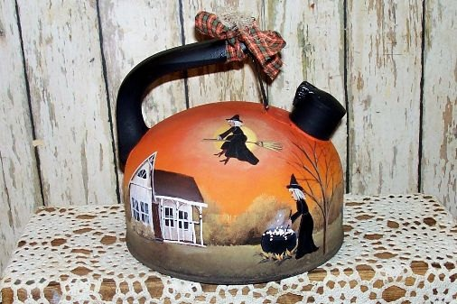 Halloween Witch Tea Pot  Hand  Painted Primitive by raggedyjan, $22.49