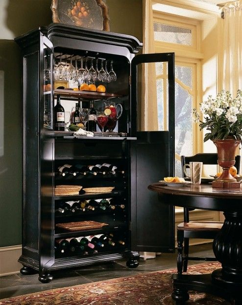 Storage, Cool Black Wooden Vintage Wine Cabinet Sets Complete With Wine Glass Inside In Modern Classic Living Space With Gothic Furniture ~ Amazing Wine Cellar Decorating Ideas Enhancing the Storage with Antique Impression