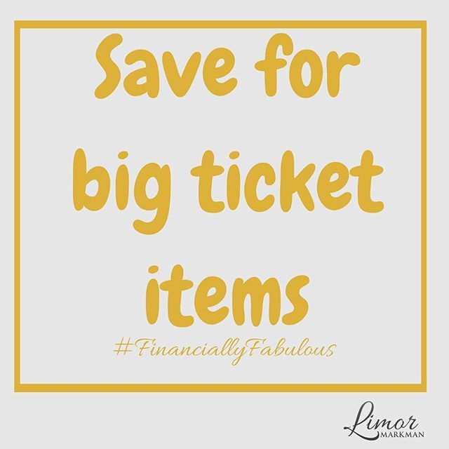 Big ticket items are not for impulse shopping!  You need to plan and save for them.   www.Limor.Money