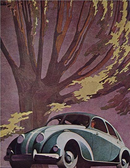 Adler 1937 Car Advert with tree