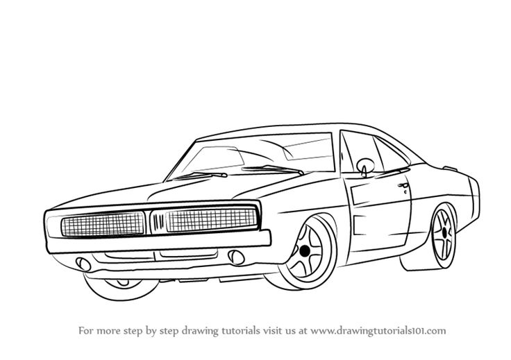 Learn How to Draw a 1969 Dodge Charger (Cars) Step by Step : Drawing Tutorials