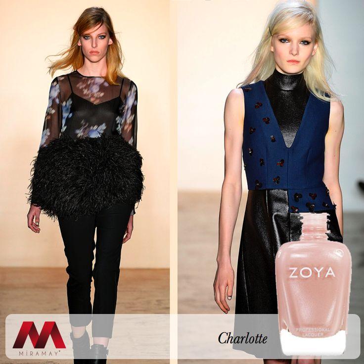 Ünlü modacı Peter Som'un NYFW 2014 defilesinde başrolü üstlenen Zoya, modacının tasarımlarına uyan renk alternatifleri çok ses getirdi.