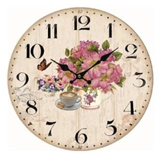 Nástěnné hodiny růžová kytice
