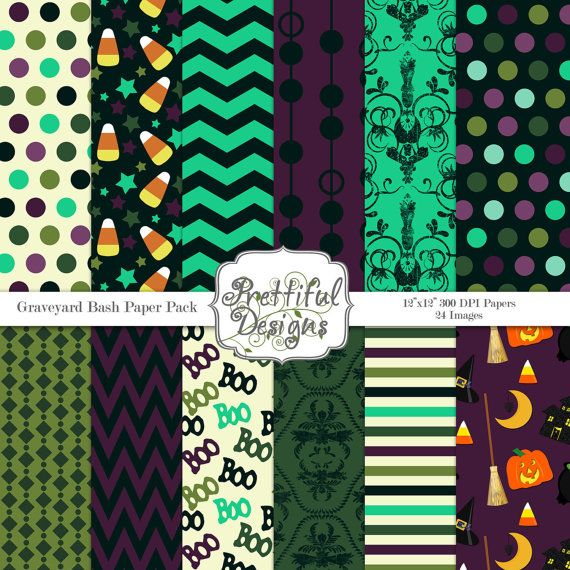 Halloween Digital Paper Pack  for Scrapbooking, Invitations, Card Making, Commercial Use  - Graveyard Bash (357)