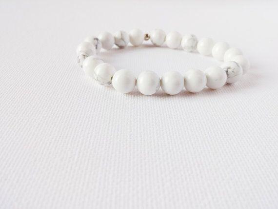 White Howlite Mala Bracelet by AumShantiDesigns on Etsy