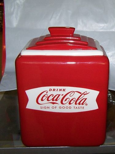 Coca Cola Red Canister Fishtail Design Cookie Jar New in Box | eBay