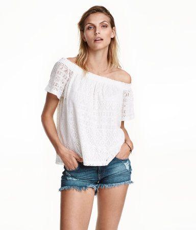 Off-Shoulder-Spitzenshirt   Weiß   Damen   H&M AT
