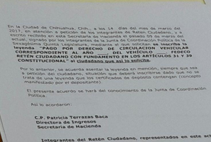 Peleará Retén Ciudadano que Hacienda retire frase no acordada que les quiere imponer en certificados de pago de Revalidación en resistencia   El Puntero
