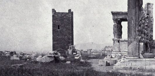 One of the rarest images of the citadel known as the Acropolis, which included the Frankish Tower before it was dismantled in 1874.