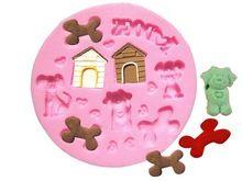 M004 Puppy dog doghouse Bone Shaped Cake Chocolate Candy Decorating Molds Candle Cake Fondant Tool Silicone Mould(China (Mainland))