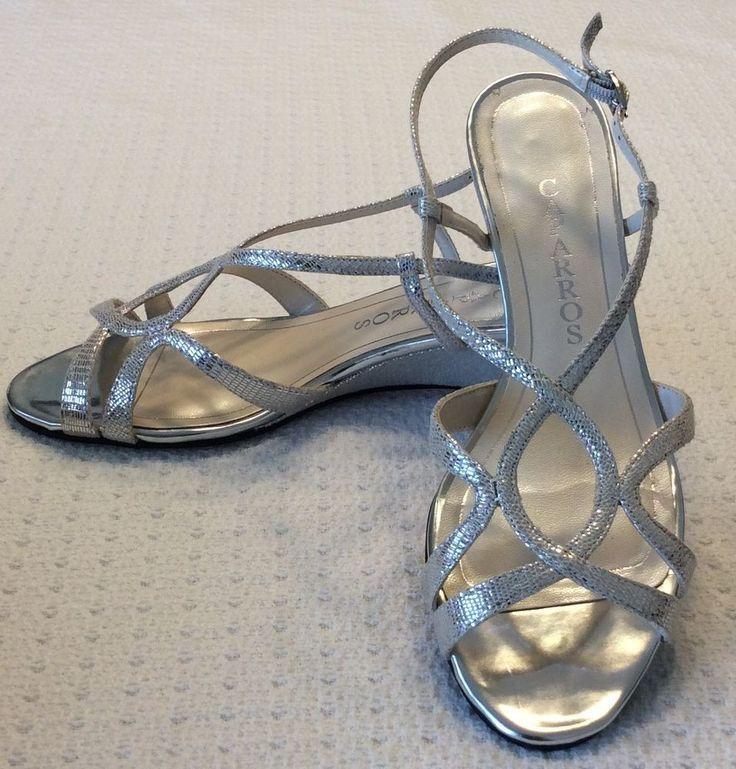 Caparros Lisette Women's 7.5 Silver Lizard Wedge Dress Shoes #Caparros #Slingbacks