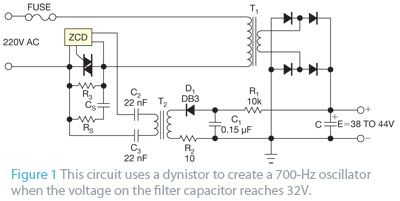 Circuit controls inrush current in ac-operated power supplies figure 1