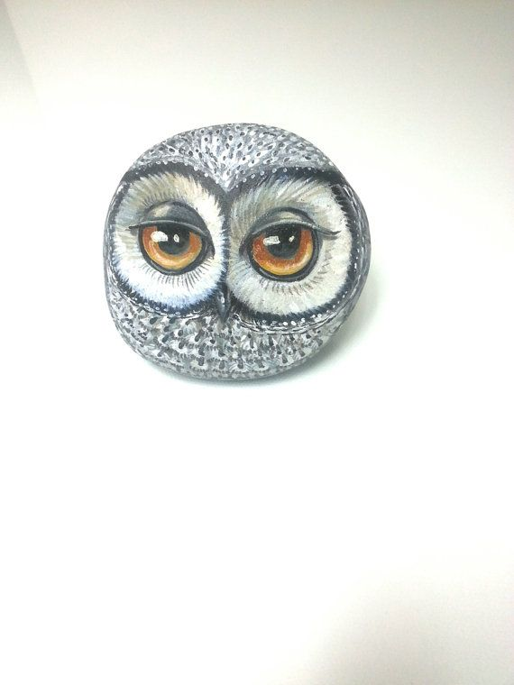 Grey Owl Rock Pet this owl is ready for by PaintedRocksbyShelli
